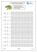 Subtract fractions from whole numbers Arithmetic Paper ...