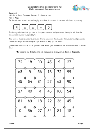 Preview of worksheet 9x table calculator game