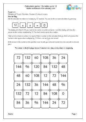 Preview of worksheet 12x table calculator game