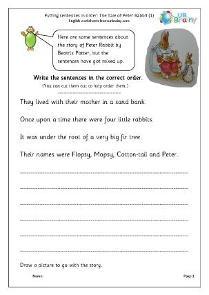 Putting sentences in order: Peter Rabbit (1)