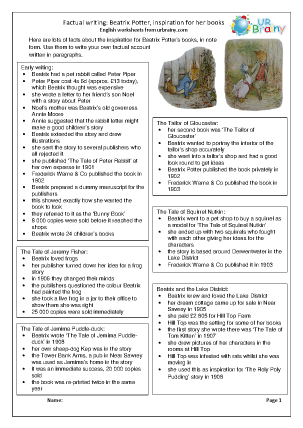 Preview of worksheet Beatrix Potter: her books factsheet