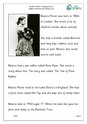 Preview of worksheet Beatrix Potter: biography, easier