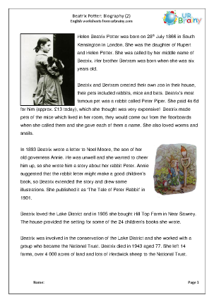 Preview of worksheet Beatrix Potter: biography