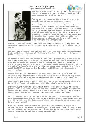 Beatrix Potter: biography, harder