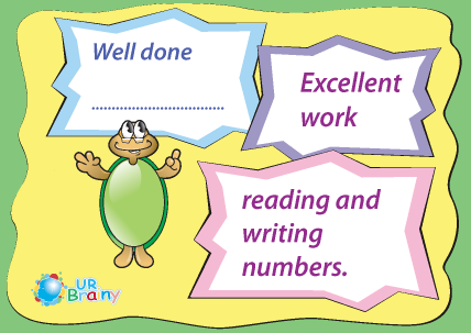 Preview of worksheet Excelent Work Reading and Writing Numbers