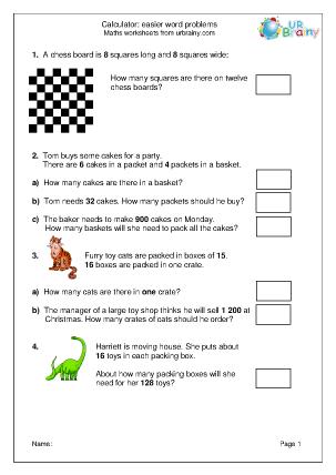 Preview of worksheet Easier word problems