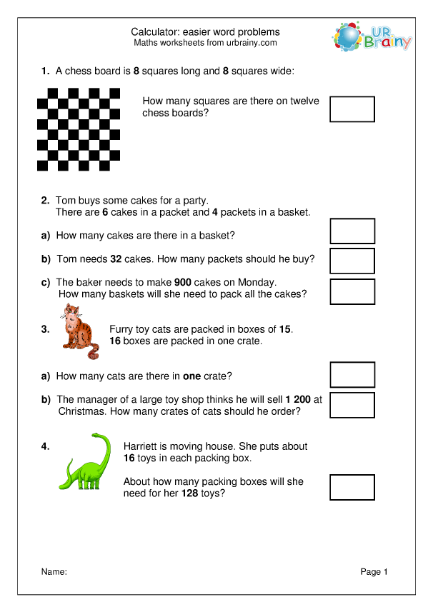 Preview of 'Easier word problems'