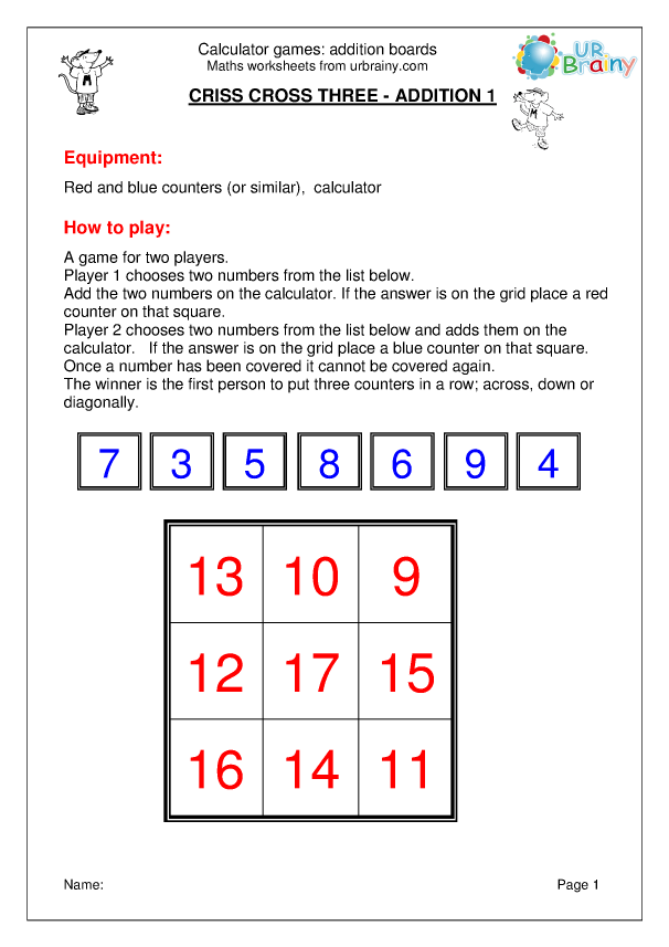 Preview of 'Calclulator: addition board games'