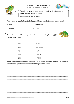 Preview of worksheet Prefixes: mixed examples (2)
