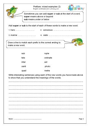 Prefixes: mixed examples (2)