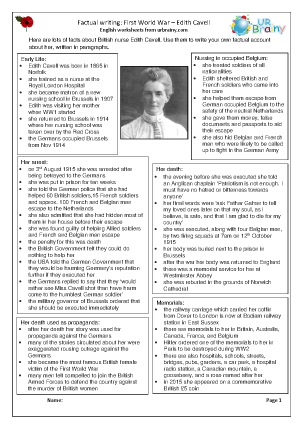 Preview of worksheet Factsheet: Edith Cavell