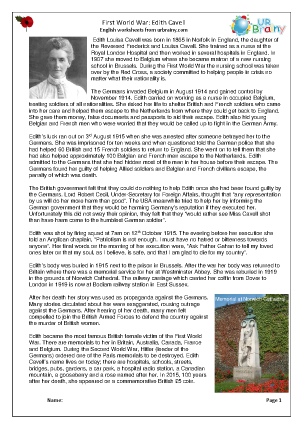 Preview of worksheet Edith Cavell