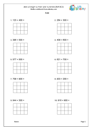 Preview of worksheet Add a 3-digit number and hundreds (3C1)