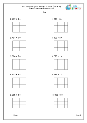 Preview of worksheet Add a 3-digit number and a single digit (3C1)