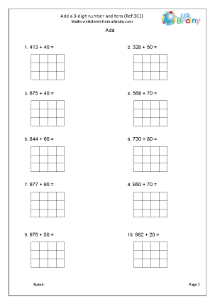 Preview of worksheet Add a 3-digit number and tens (3C1)