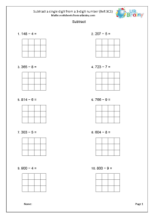 Preview of worksheet Subtract a single digit from a 3-digit number (3C1)