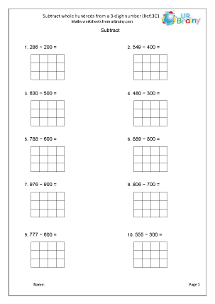 Preview of worksheet Subtract hundreds from a 3-digit number (3C1)