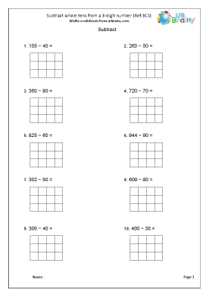 Preview of worksheet Subtract tens from a 3-digit number (3C1)