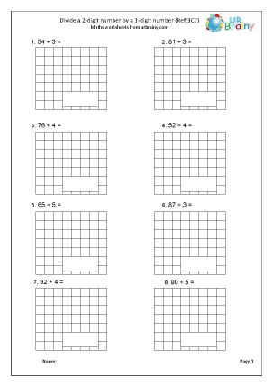Preview of worksheet Divide a 2-digit number by a single digit (3C7)
