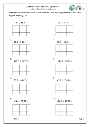 Preview of worksheet Written addition: decimals (4C2)