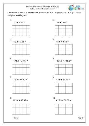 Written addition: decimals (4C2)