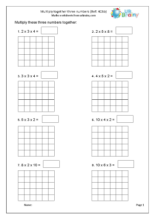 Preview of worksheet Multiply together three numbers (4C6b)