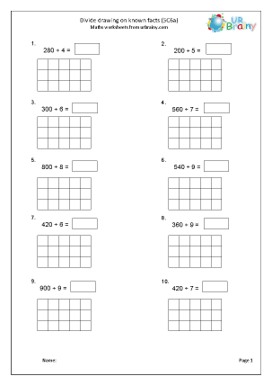 Preview of worksheet Divide drawing on known facts (5C6a)