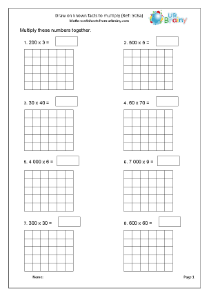 Preview of worksheet Multiply drawing on known facts (5C6a)