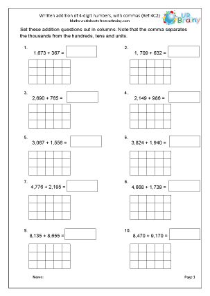 Preview of worksheet Addition up to 4-digits with commas (4C2)