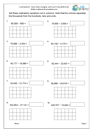 Preview of worksheet Subtract numbers with more than 4-digits with commas (5C2)