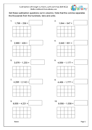 Preview of worksheet  Subtract 4-digit numbers with commas (4C2)