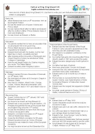 Preview of worksheet King Edward VII factsheet