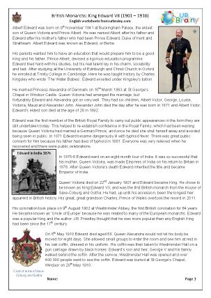 Preview of worksheet King Edward VII (harder)