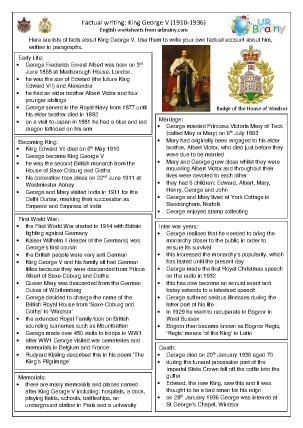 Preview of worksheet King George V factsheet