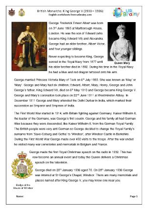 Preview of worksheet King George V
