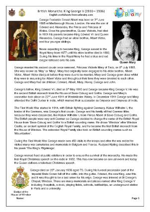 Preview of worksheet King George V (harder)