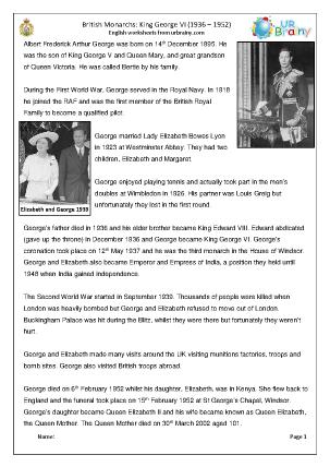 Preview of worksheet King George VI