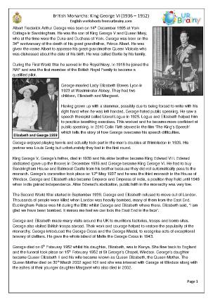 Preview of worksheet King George VI (harder)