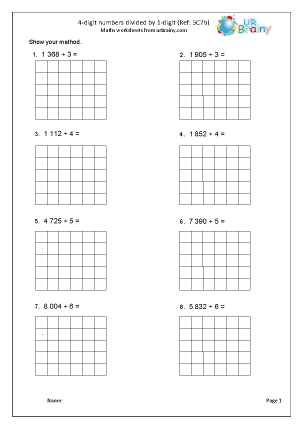 Preview of worksheet  Divide a 4-digit number by 1-digit (5C7b)