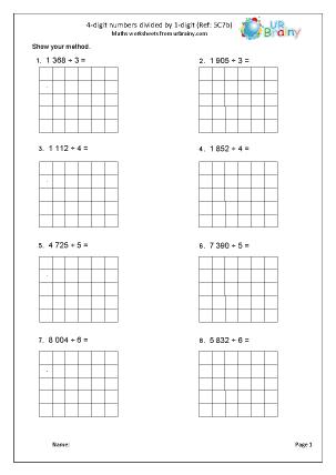 Divide a 4-digit number by 1-digit (5C7b)