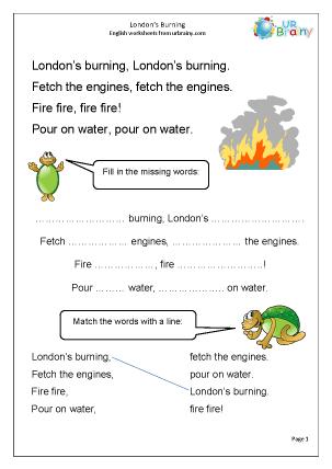 Preview of worksheet London's Burning