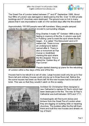 Preview of worksheet After The Great Fire of London: easier comprehension