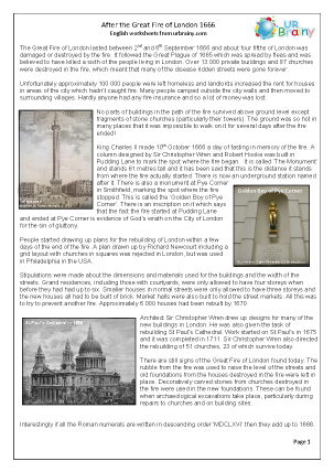 Preview of worksheet After The Great Fire of London