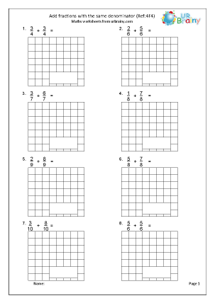 Preview of worksheet Add fractions with the same denominator (4F4)