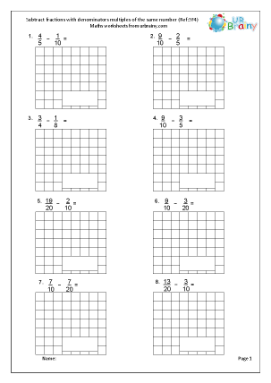Preview of worksheet  Subtract proper fractions (5F4)