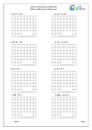 Preview of worksheet Order of operations (6C9)