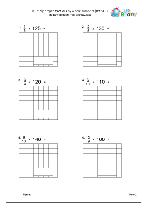 Preview of worksheet Multiply proper fractions by whole numbers (5F5)