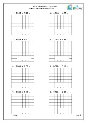 Preview of worksheet Add decimals (5F8)