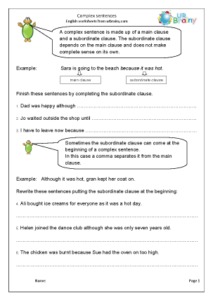 Preview of worksheet Complex sentences