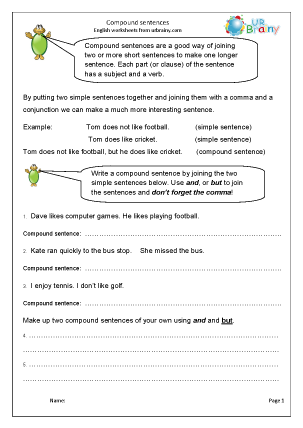 Preview of worksheet Compound sentences